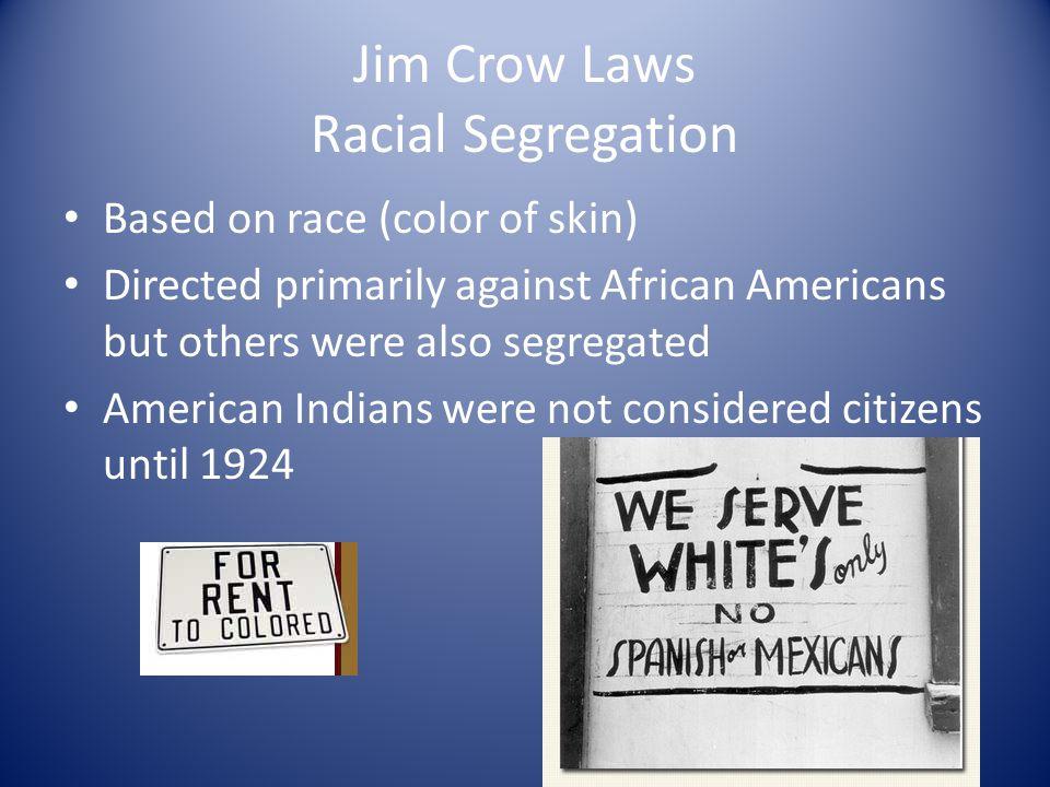Jim Crow Laws Racial Segregation