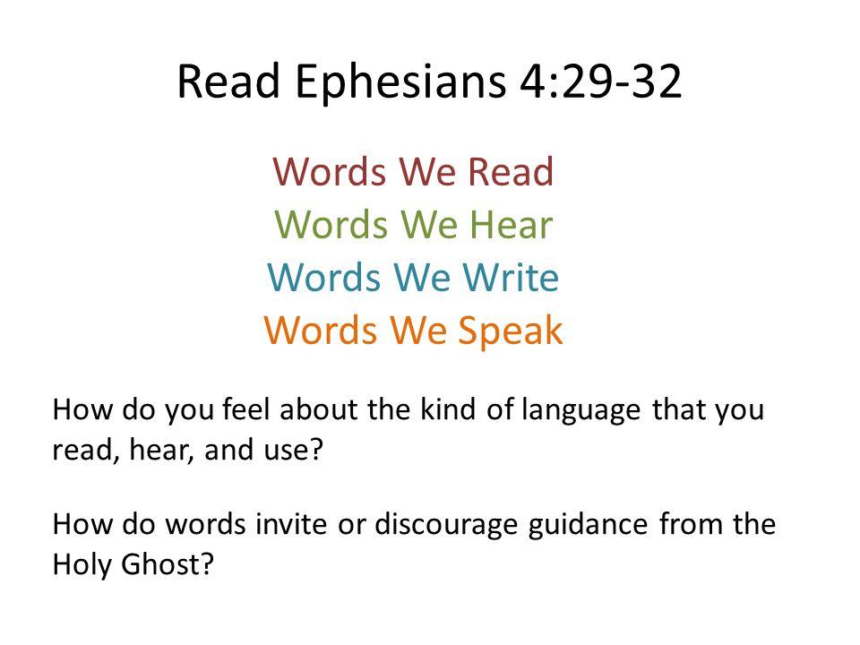 Words We Read Words We Hear Words We Write Words We Speak