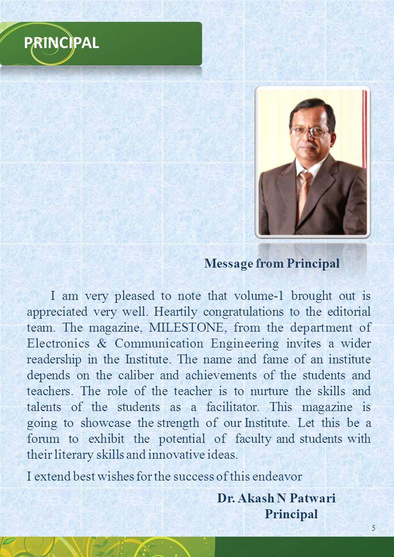 PRINCIPAL Message from Principal