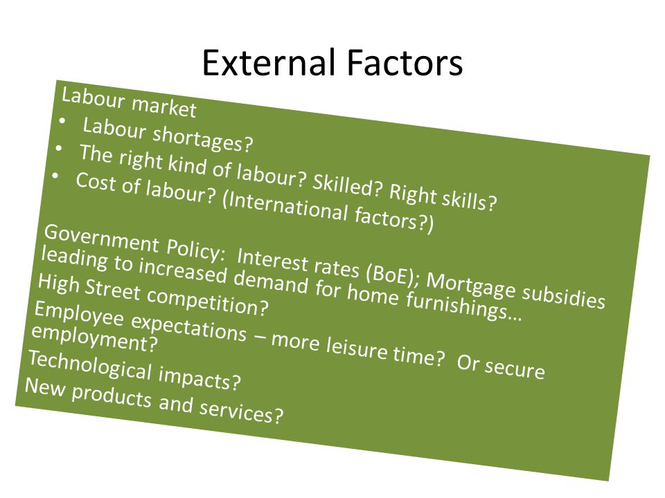 External Factors Labour market Labour shortages