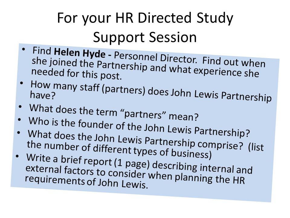 For your HR Directed Study Support Session