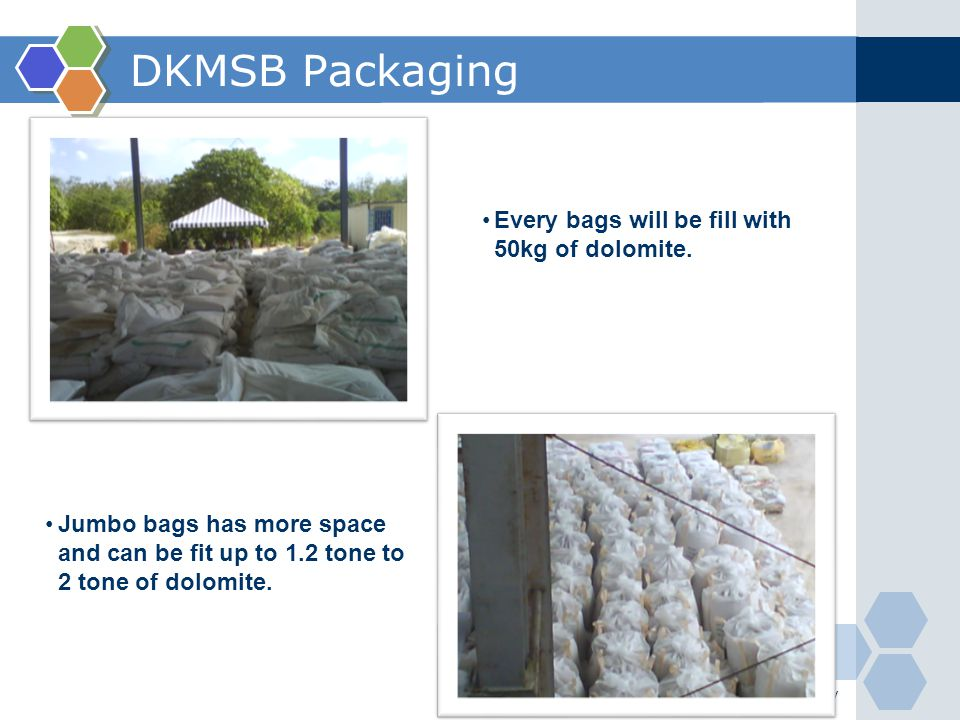 DKMSB Packaging Every bags will be fill with 50kg of dolomite.