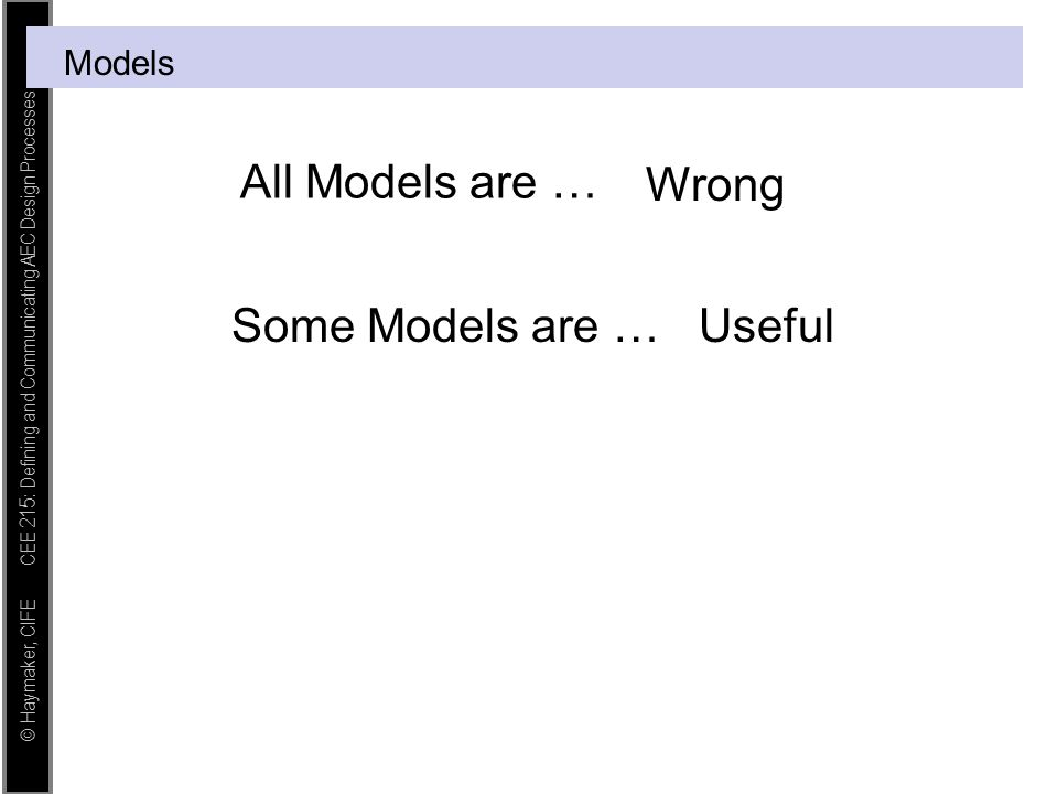 Models All Models are … Wrong Some Models are … Useful
