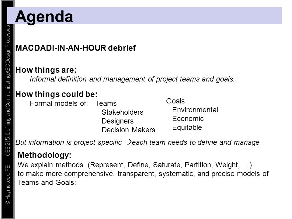 Agenda MACDADI-IN-AN-HOUR debrief How things are: How things could be: