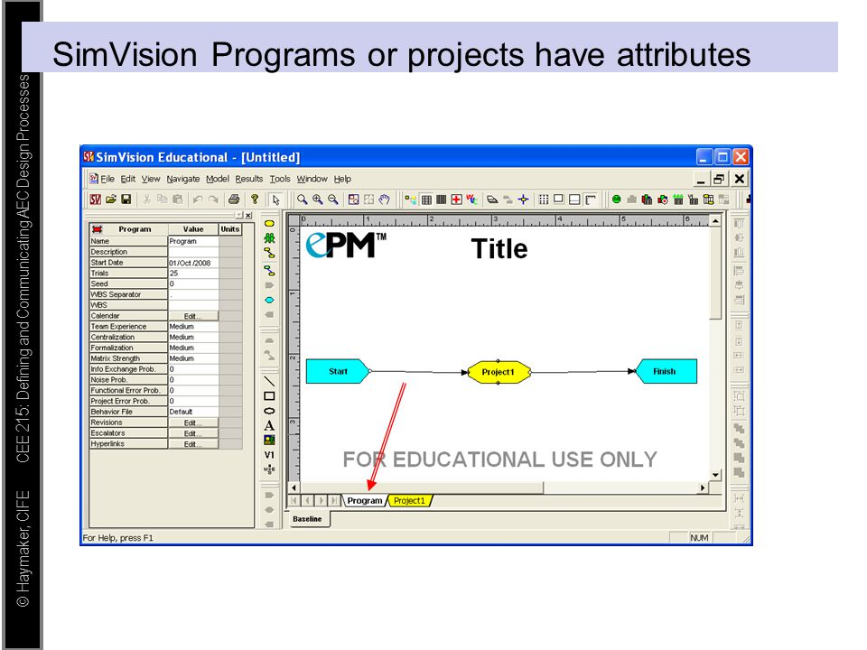 SimVision Programs or projects have attributes