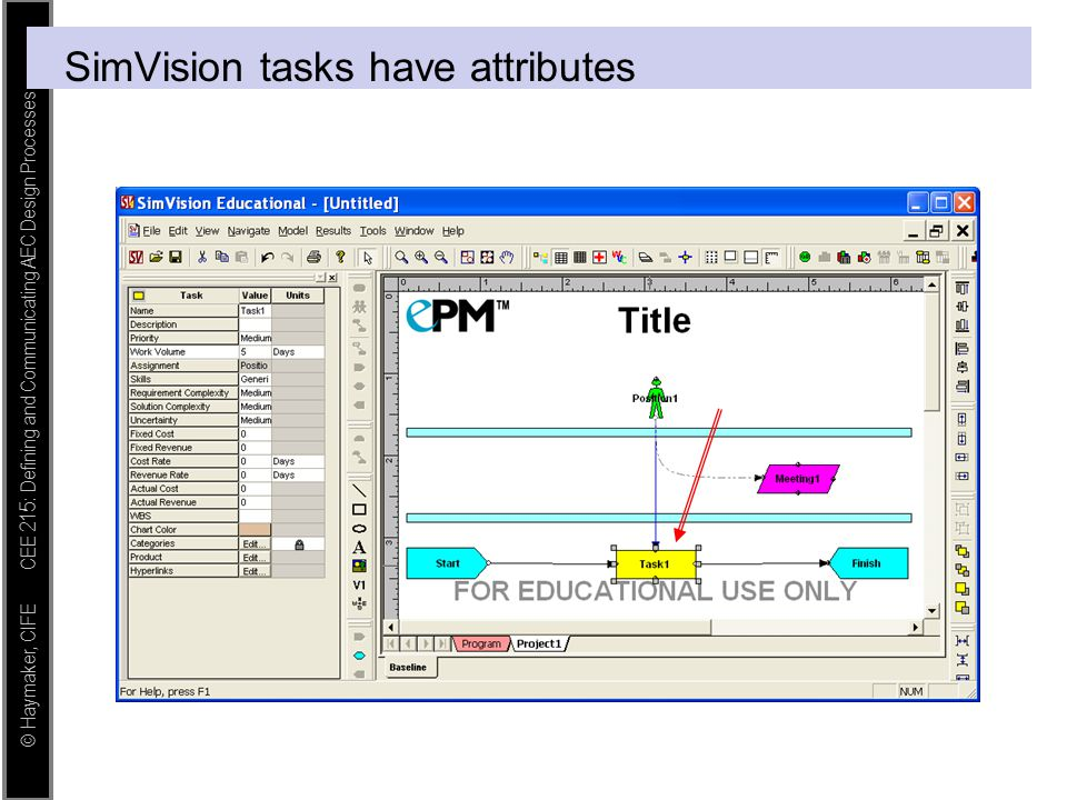 SimVision tasks have attributes