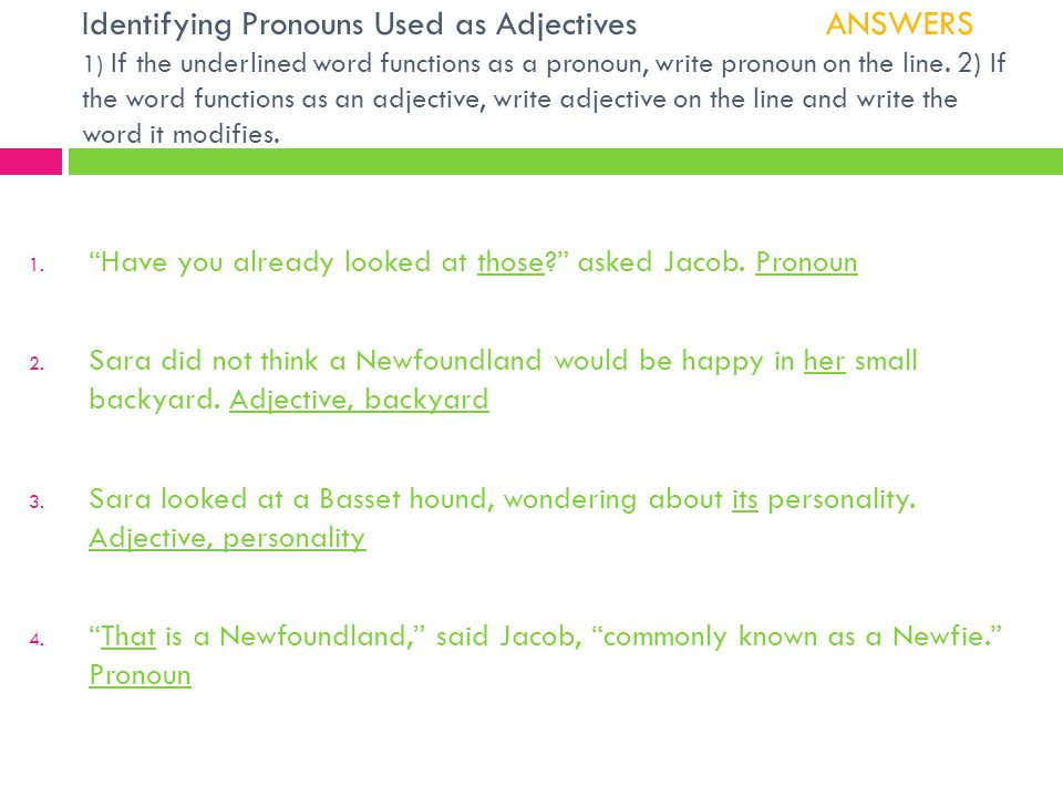 Identifying Pronouns Used as Adjectives