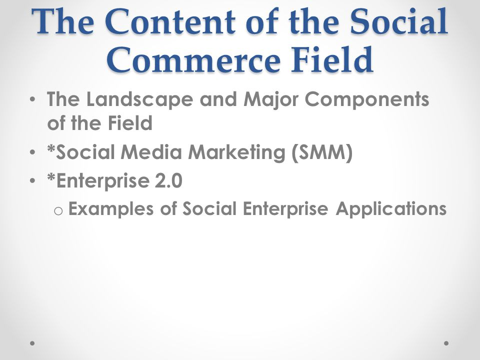 The Content of the Social Commerce Field
