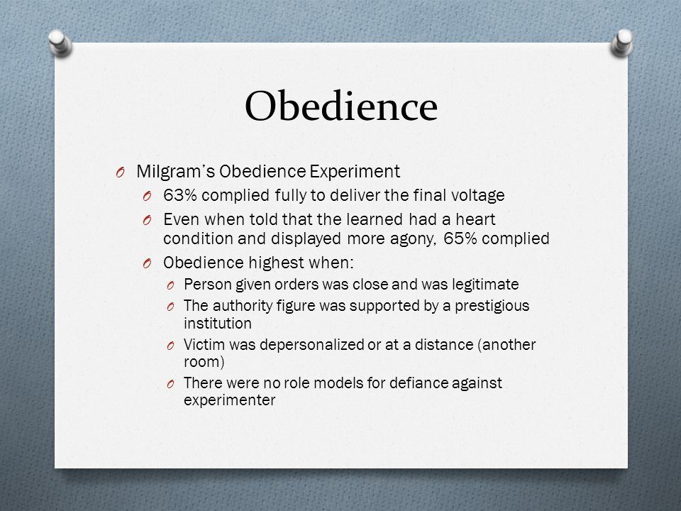 Obedience Milgram's Obedience Experiment