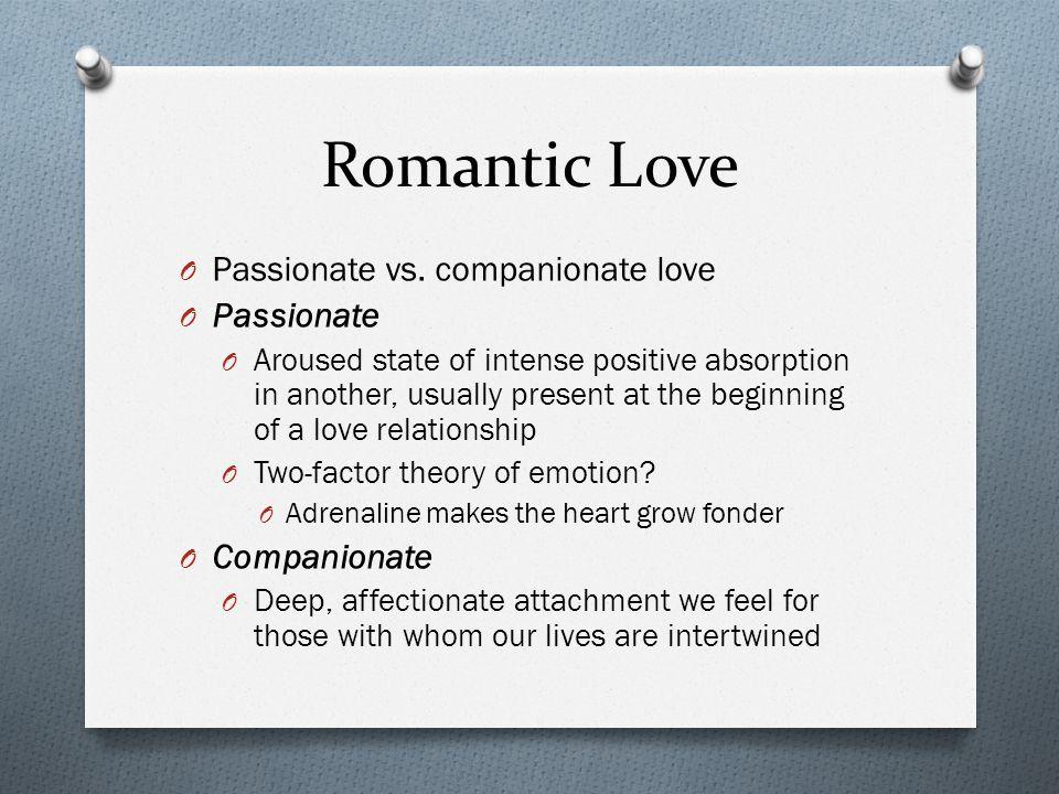 Romantic Love Passionate vs. companionate love Passionate Companionate