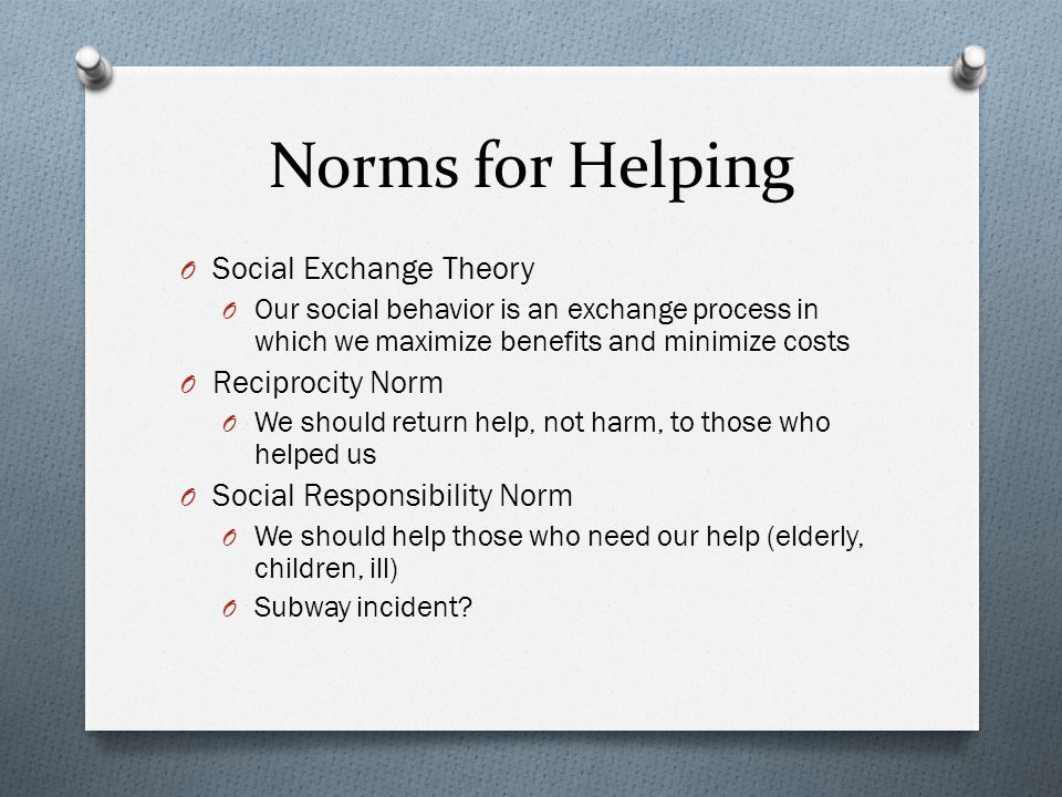 Norms for Helping Social Exchange Theory Reciprocity Norm