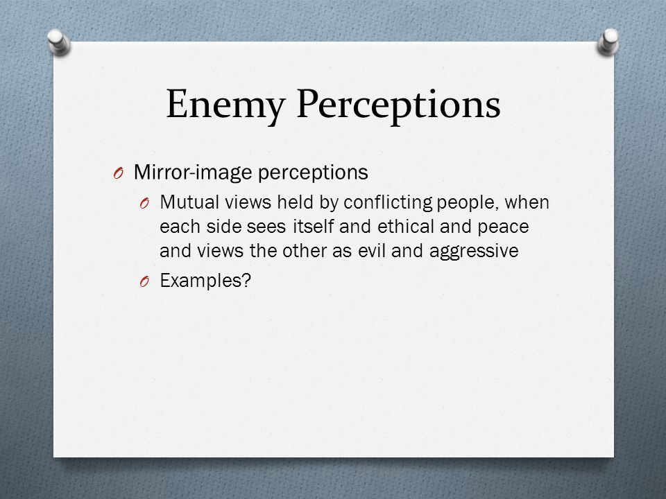Enemy Perceptions Mirror-image perceptions