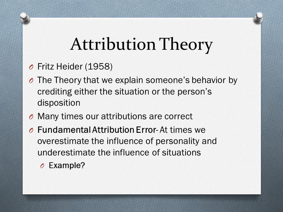 Attribution Theory Fritz Heider (1958)