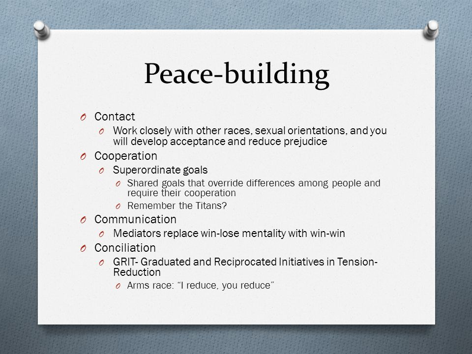 Peace-building Contact Cooperation Communication Conciliation