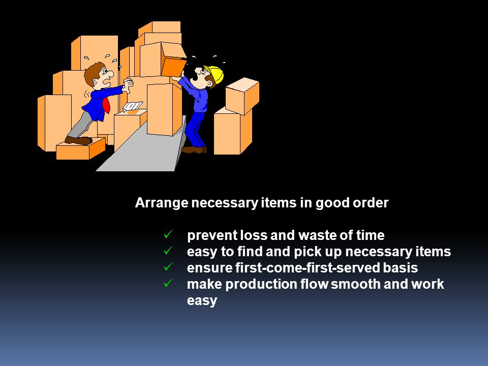 Arrange necessary items in good order