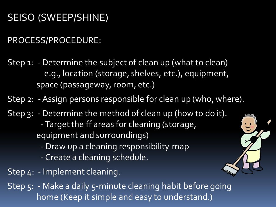 SEISO (SWEEP/SHINE) PROCESS/PROCEDURE:
