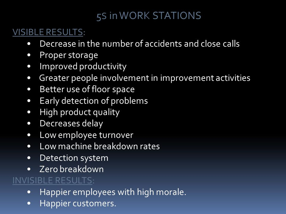 5S in WORK STATIONS VISIBLE RESULTS: