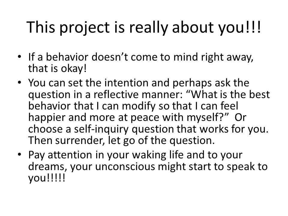 This project is really about you!!!