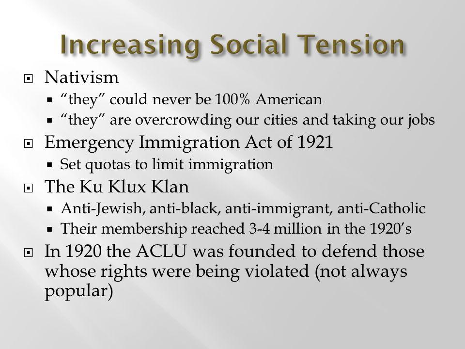 Increasing Social Tension