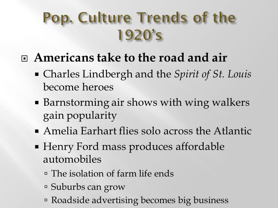 Pop. Culture Trends of the 1920's