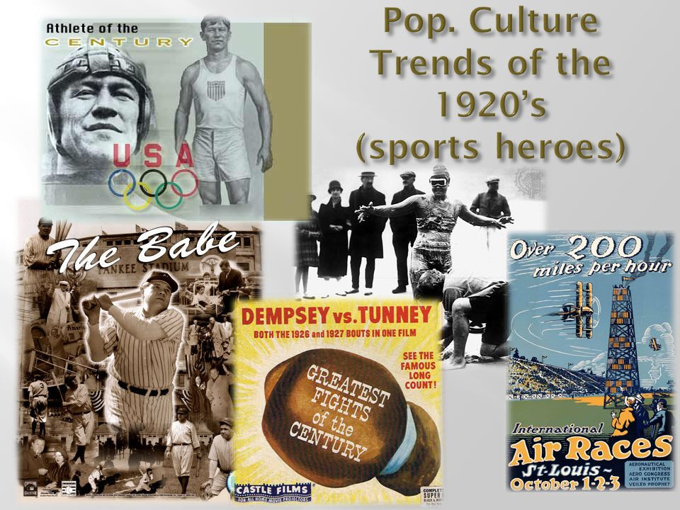 Pop. Culture Trends of the 1920's (sports heroes)