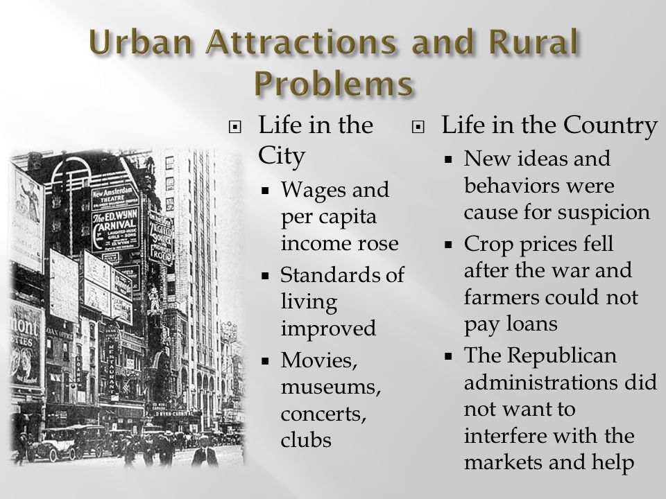 Urban Attractions and Rural Problems