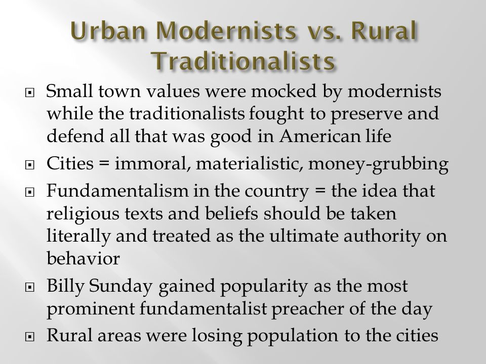 Urban Modernists vs. Rural Traditionalists