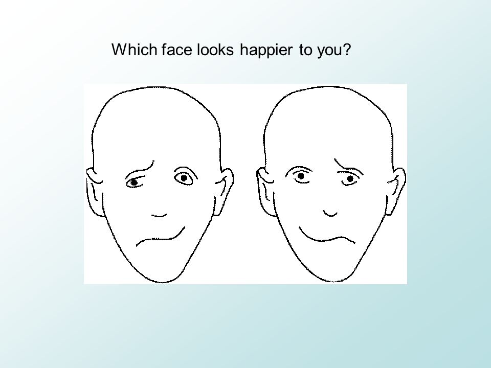 Which face looks happier to you
