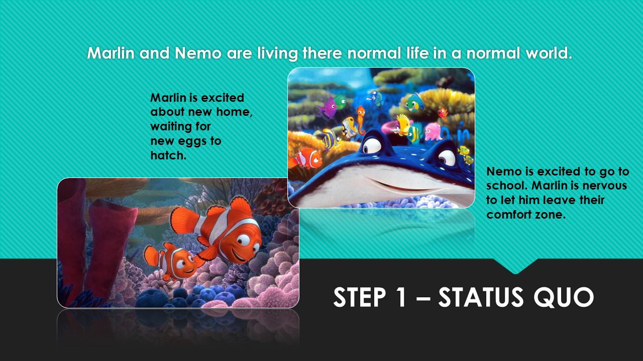 Marlin and Nemo are living there normal life in a normal world.