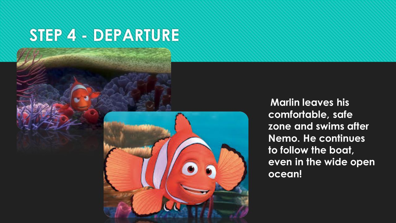 STEP 4 - DEPARTURE Marlin leaves his comfortable, safe zone and swims after Nemo.