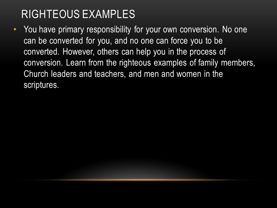 Righteous examples