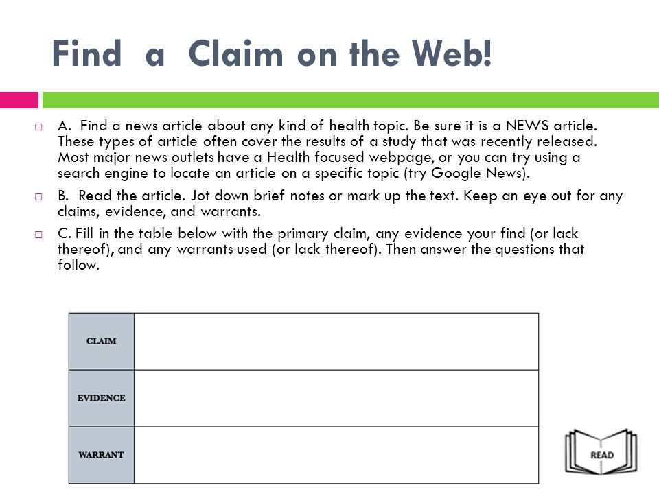 Find a Claim on the Web!