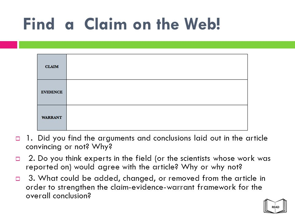 Find a Claim on the Web! 1. Did you find the arguments and conclusions laid out in the article convincing or not Why