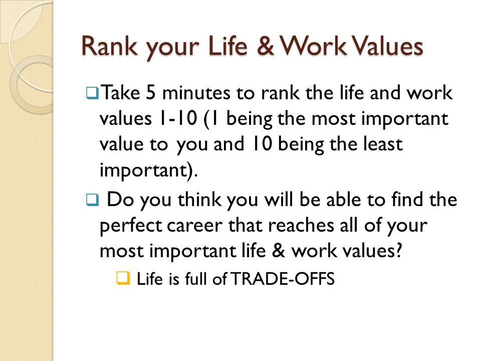Rank your Life & Work Values