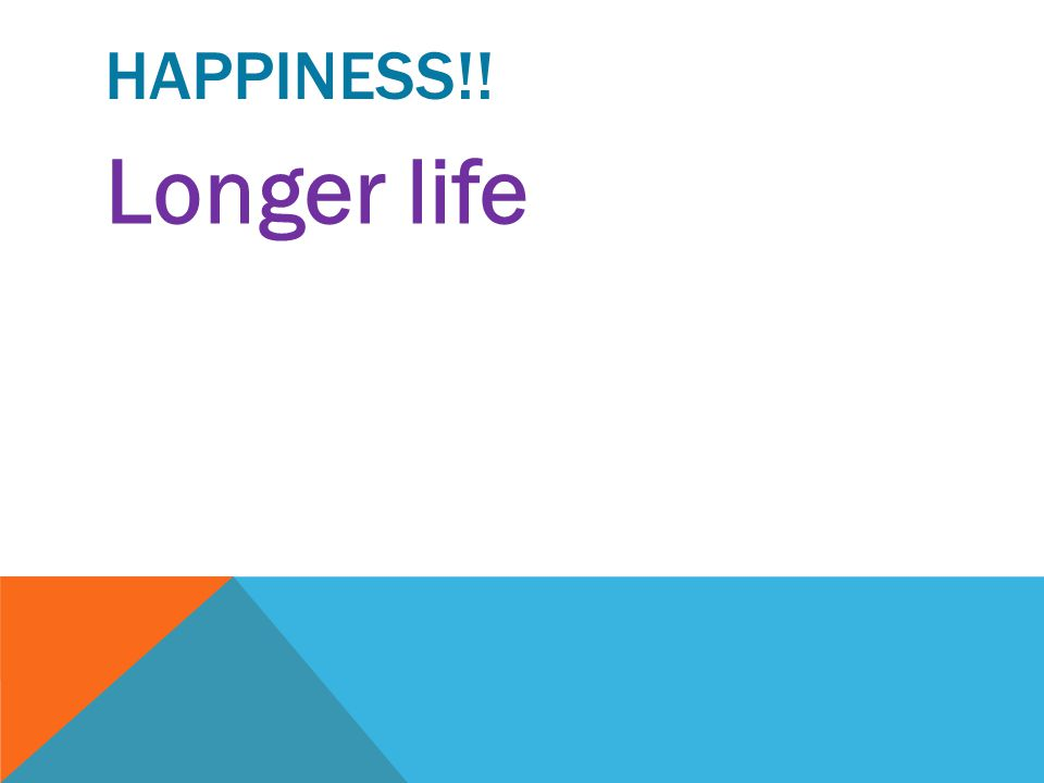 Happiness!! Longer life