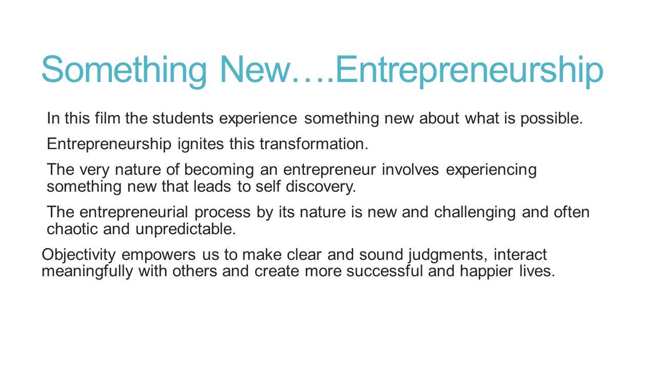 Something New….Entrepreneurship