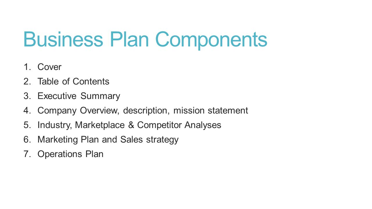 Key Components of a Business Plan: Part I