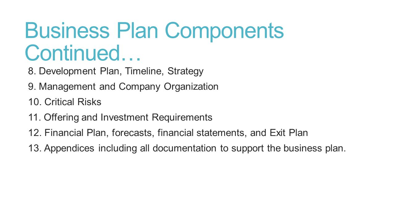 Business Plan Components Continued…