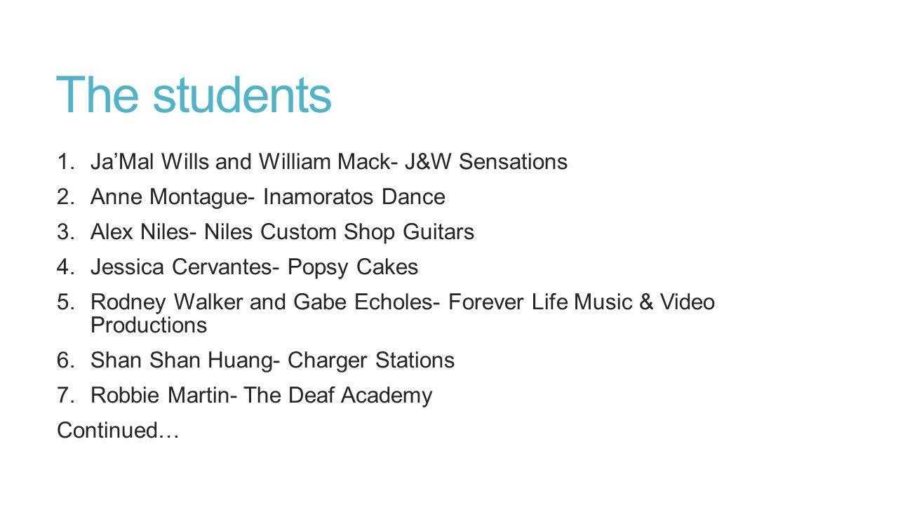 The students Ja'Mal Wills and William Mack- J&W Sensations