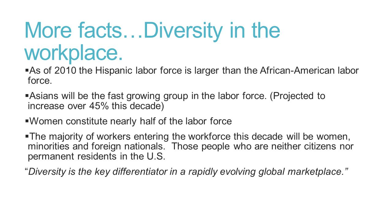 More facts…Diversity in the workplace.