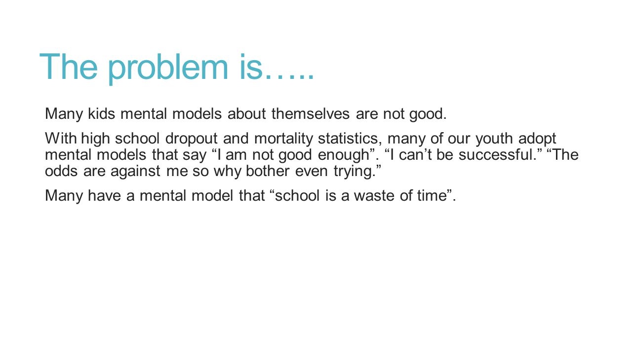 The problem is….. Many kids mental models about themselves are not good.