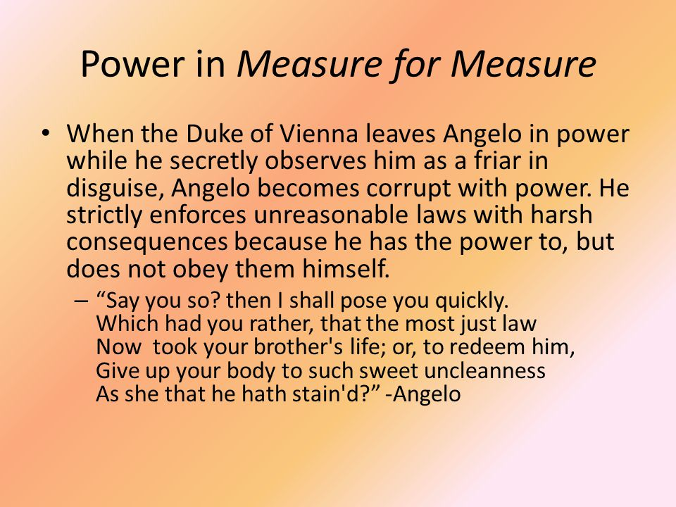 Power in Measure for Measure