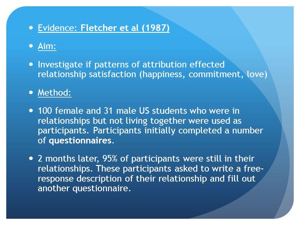 Evidence: Fletcher et al (1987)