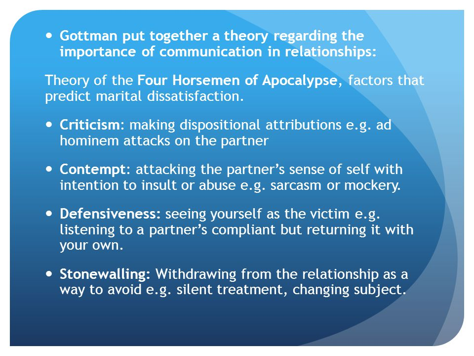 Gottman put together a theory regarding the importance of communication in relationships: