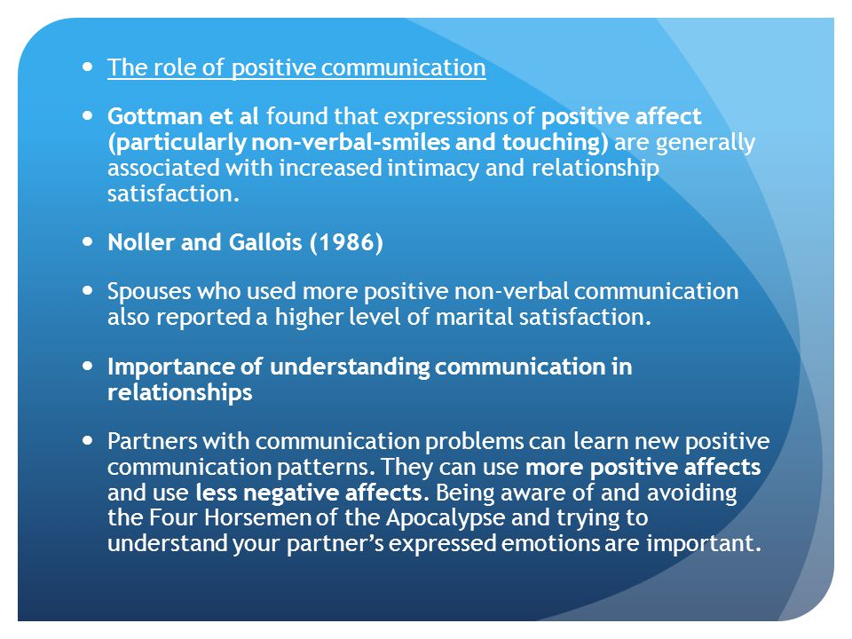 The role of positive communication