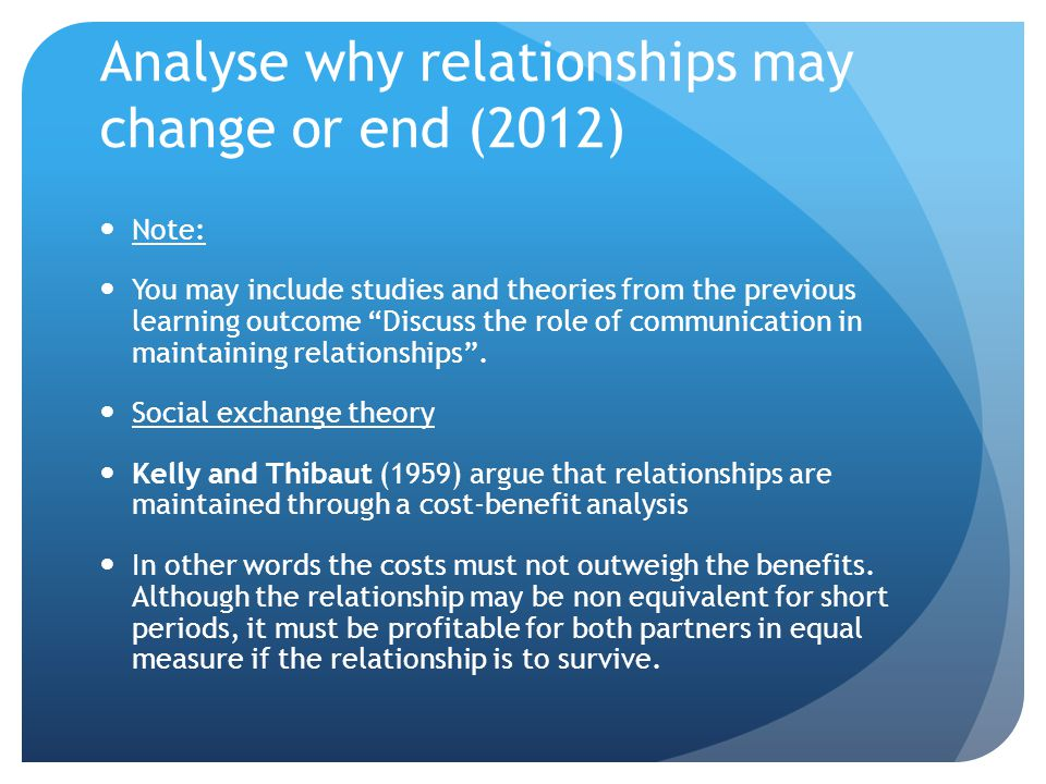 Analyse why relationships may change or end (2012)
