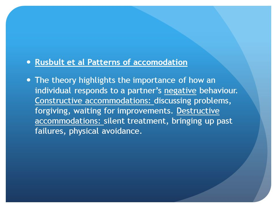 Rusbult et al Patterns of accomodation