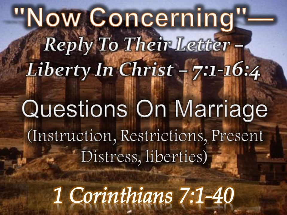 Now Concerning —Reply To Their Letter –