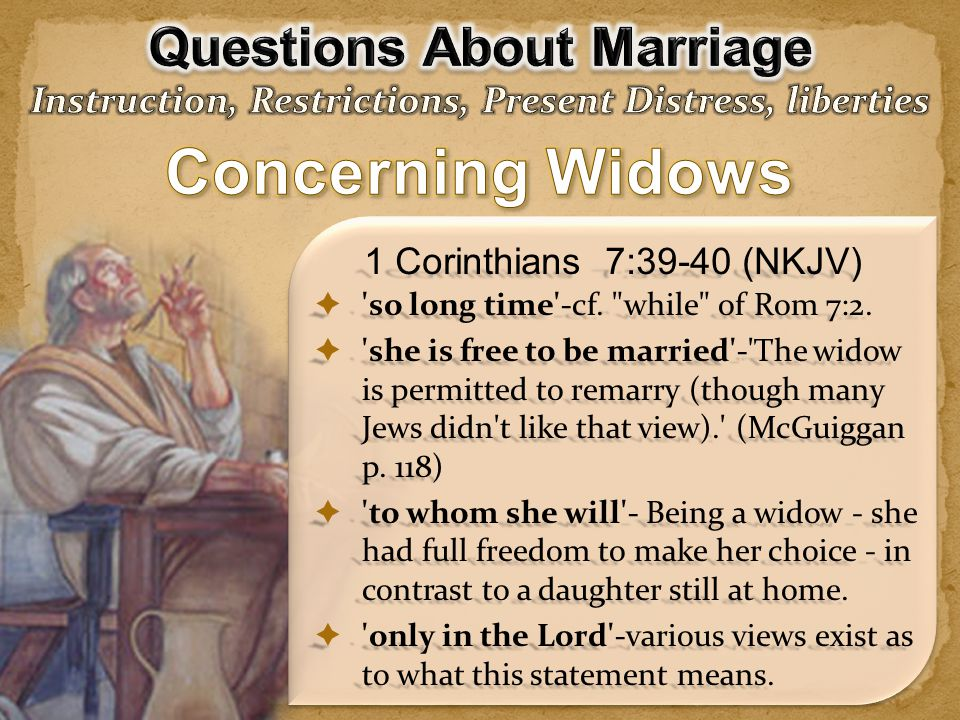 Concerning Widows Questions About Marriage