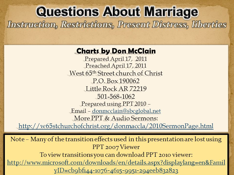 Questions About Marriage